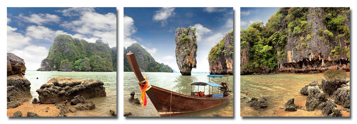 Канвас триптих Idea Тайланд, 150 см х 50 смIDEA FL2-03Канвас - это ткань (полиэстер) с художественной фотопечатью, натянутая на деревянный каркас. Триптих включает три элемента, которые образуют единый рисунок. Такое изделие - оригинальный декоративный элемент, способный преобразить любой интерьер. Картина оформлена красочным изображением лодки у таиландского побережья. С задней стороны имеются петельки для подвешивания к стене. Элементы следует размещать на стене, оставляя между ними небольшой промежуток. Стильный, современный дизайн, а также яркие и насыщенные цвета сделают эту картину прекрасным дополнением интерьера комнаты.