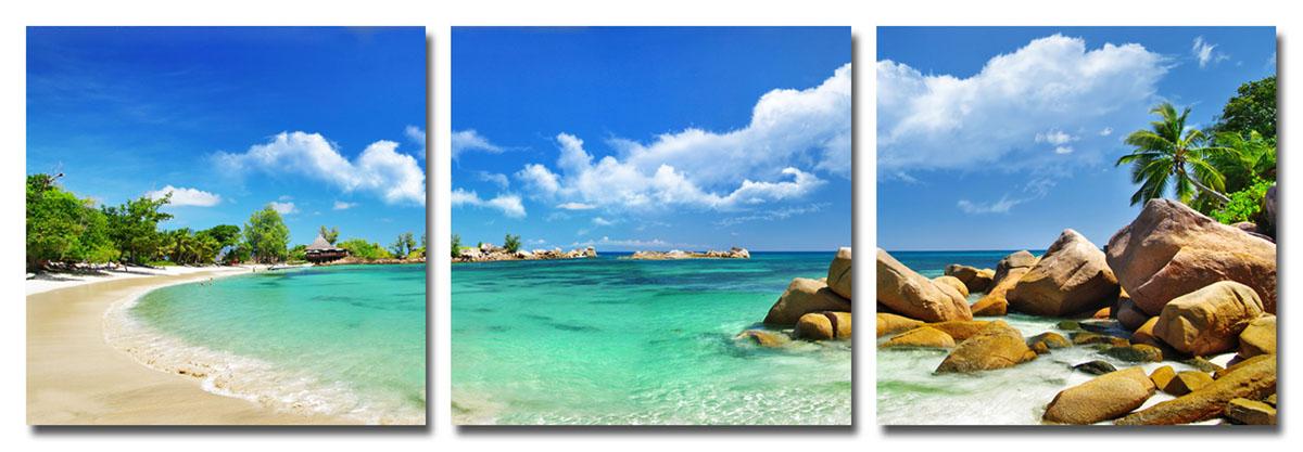 Канвас триптих Idea Остров, 150 см х 50 смIDEA FL2-04Канвас - это ткань (полиэстер) с художественной фотопечатью, натянутая на деревянный каркас. Триптих включает три элемента, которые образуют единый рисунок. Такое изделие - оригинальный декоративный элемент, способный преобразить любой интерьер. Картина оформлена красочным изображением побережья тропического острова. С задней стороны имеются петельки для подвешивания к стене. Элементы следует размещать на стене, оставляя между ними небольшой промежуток. Стильный, современный дизайн, а также яркие и насыщенные цвета сделают эту картину прекрасным дополнением интерьера комнаты.