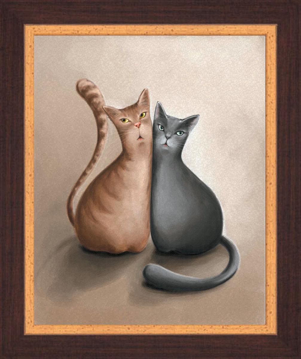 Постер в раме Postermarket Два кота, 24 см х 30 смPM-2401Картина для интерьера (постер) - современное и актуальное направление в дизайне любых помещений. Постер с красочным изображением двух котов оформлен в раму коричневого цвета, выполненную из пластика под дерево. Картина защищена прозрачным пластиком. С задней стороны имеется петелька для подвешивания к стене. Картина может использоваться для оформления любых интерьеров: - дом, квартира (гостиная, спальня, кухня, прихожая, детская); - офис (комната переговоров, холл, кабинет); - бар, кафе, ресторан или гостиница. Картины, предоставляемые компанией Постермаркет: - собраны вручную из лучших импортных комплектующих; - надежно упакованы в пленку с противоударными уголками.