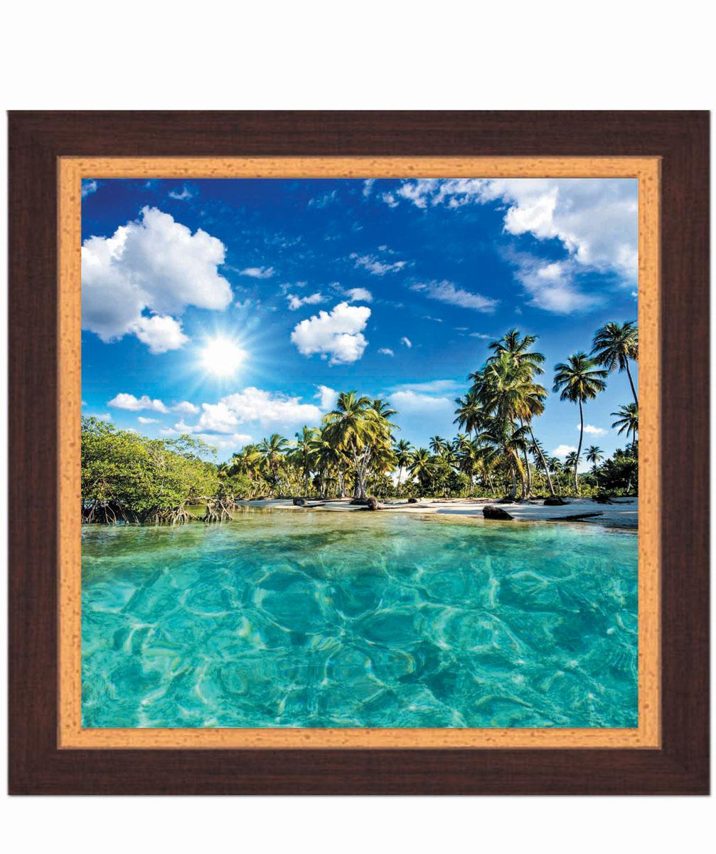 Постер в раме Postermarket Пляж, 30 см х 30 смPM-3002Картина для интерьера (постер) - современное и актуальное направление в дизайне любых помещений. Постер с красочным изображением тропического пляжа оформлен в раму коричневого цвета, выполненную из пластика под дерево. Картина защищена прозрачным пластиком. С задней стороны имеется петелька для подвешивания к стене. Картина может использоваться для оформления любых интерьеров: - дом, квартира (гостиная, спальня, кухня, прихожая, детская); - офис (комната переговоров, холл, кабинет); - бар, кафе, ресторан или гостиница. Картины, предоставляемые компанией Постермаркет: - собраны вручную из лучших импортных комплектующих; - надежно упакованы в пленку с противоударными уголками.