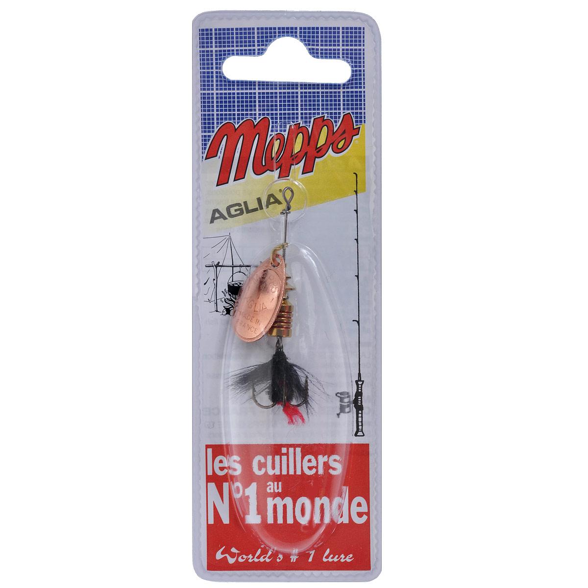 Блесна Mepps Aglia CU Mouch. Noire, вращающаяся, №15753Вращающаяся блесна Mepps Aglia CU Mouch. Noire оснащена мушкой из натурального беличьего хвоста, это очень эффективные приманки для ловли жереха, голавля, язя, окуня и других видов рыб, особенно в периоды массового вылета насекомых. Aglia Mouche - некрупная блесна, которая особенно подходит для летней ловли рыбы (особенно осторожной) на мелководье.