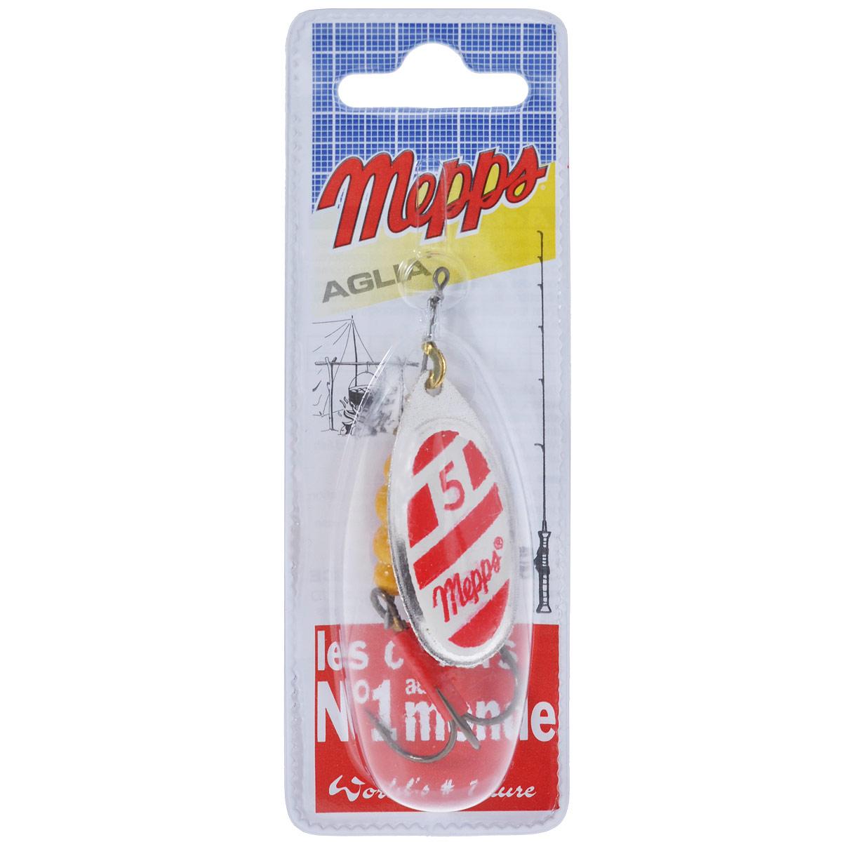 Блесна Mepps Aglia Blanc Rouge AG, вращающаяся, №5, 13 г34962Вращающая блесна Mepps Aglia Blanc Rouge AG - одна из первых блесен французского производства. При вращении угол отклонения лепестка от оси составляет 60°. Блесна в основном предназначена для водоемов со слабым течением, или «стоячей» водой. Благодаря своей превосходно выверенной механике, она начинает послушно вращаться, лишь только коснется воды. Конус вращения адаптируется к силе течения, что позволяет ей создавать вибрации, наиболее привлекательные для хищников. Обладает устойчиво-ровным движением (поведением) в воде - при различных способах и скоростях проводки. Блесна Mepps AGLIA - очень популярная классическая модель. Рекомендуется при ловле форели, окуня, голавля, жереха, язя, как крупных, так и меньшего размера.