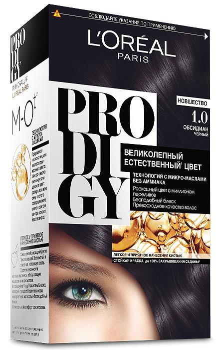 LOreal Paris Краска для волос Prodigy без аммиака, оттенок 1.0, ОбсидианA7674300Prodigy - инновация от Лореаль Париж - прорывная технология окрашивания с микро-маслами для экстраординарного цвета. Новая формула микро-масел с использованием ультратонких красящих пигментов позволяет создавать желаемый цвет, благодаря проникновению краски в самый центр волоса. Инновационная система микро-масел несет эффект сияющих волос за счет разглаживания их структуры по всей длине. В результате цвет получается невероятно насыщенным, с миллионами переливов различных оттенков. Совершенное и безопасное окрашивание без аммиака дает интенсивный стойкий цвет. Здоровые и безупречно гладкие волосы, которые завораживают своим зеркальным блеском и необыкновенно ярким цветом. В состав упаковки входит: красящий крем (60 г); проявляющая эмульсия (60 г); уход-усилитель блеска (60 мл); пара перчаток; инструкция по применению.