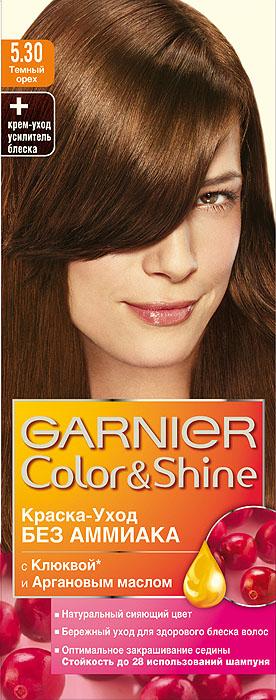 Garnier Краска-уход для волос Color&Shine без аммиака, оттенок 5.30, Темный орехC3371511Garnier Color&Shineкраска-уход, без аммиака, которая не только бережно ухаживает за волосами, делая их мягкими, но и оптимально закрашивает седину. Она обогащена экстрактом клюквы, признанным антиоксидантом, который продлевает сияние цвета Ваших волос надолго. Благодаря питательным свойствам арганового масла Ваши волосы защищены от сухости, а блеск максимально усилен. Ваши волосы несравненно мягкие, цвет сияющий,стойкий в течение 28 использований шампуня. Узнай больше об окрашивании на http://coloracademy.ru/. В упаковки содержится: флакон с молочком-проявителем (60 мл); тюбик с крем-краской (40 мл); крем-уход усилитель блеска после окрашивания; инструкция; пара перчаток.