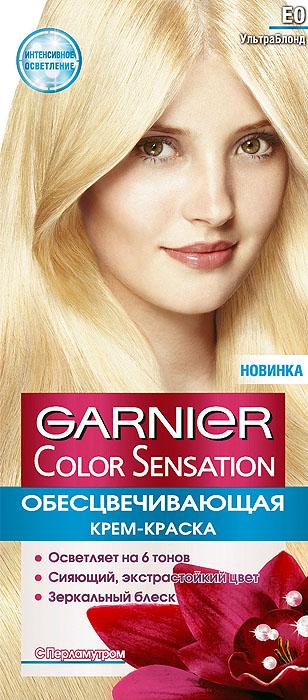 Garnier Стойкая крем-краска для волос Color Sensation, Роскошь цвета, оттенок E0, Ультра блонд, 110 млC4106900Стойкая крем - краска c перламутром и цветочным маслом. Выразительный экстрастойкий цвет. Точное попадание в цвет. Зеркальный блеск. 100% закрашивание седины.