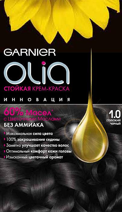 Garnier Стойкая крем-краска для волос Olia без аммиака, оттенок 1.0, Глубокий черный, 160 млC4681701Стойкая крем-краска без аммиака c цветочным маслом и изысканным ароматом. Максимальная сила цвета. 100% закрашивание седины. Заметно улучшает качество волос. Оптимальный комфорт кожи головы.