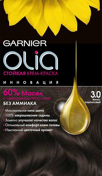 Garnier Стойкая крем-краска для волос Olia без аммиака, оттенок 3.0, Темно-каштановый, 160 млC4681901Стойкая крем-краска без аммиака c цветочным маслом и изысканным ароматом. Максимальная сила цвета. 100% закрашивание седины. Заметно улучшает качество волос. Оптимальный комфорт кожи головы.