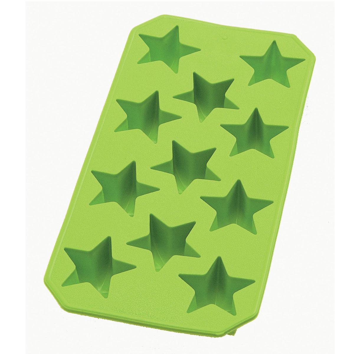 Форма для льда Lekue Звезды, цвет: зеленый, 11 ячеек0851400V02C049Форма для льда Lekue Звезды выполнена из силикона зеленого цвета. На одном листе расположено 11 формочек в виде звезд. Благодаря тому, что формочки изготовлены из силикона, готовый лед вынимать легко и просто. Чтобы достать льдинки, эту форму не нужно держать под теплой водой или использовать нож. Теперь на смену традиционным квадратным пришли новые оригинальные формы для приготовления фигурного льда, которыми можно не только охладить, но и украсить любой напиток. В формочки при заморозке воды можно помещать ягодки, такие льдинки не только оживят коктейль, но и добавят радостного настроения гостям на празднике!