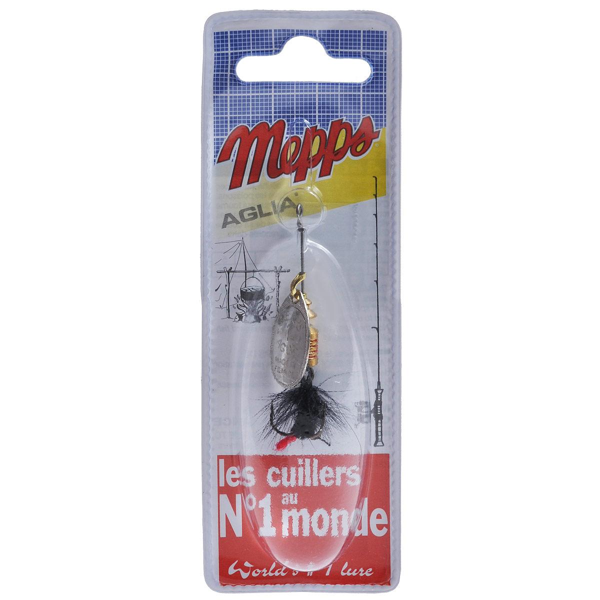 Блесна Mepps Aglia AG Mouch. Noire, вращающаяся, №15762Вращающаяся блесна Mepps Aglia AG Mouch. Noire оснащена мушкой из натурального беличьего хвоста, это очень эффективные приманки для ловли жереха, голавля, язя, окуня и других видов рыб, особенно в периоды массового вылета насекомых. Aglia Mouche - некрупная блесна, которая особенно подходит для летней ловли рыбы (особенно осторожной) на мелководье.