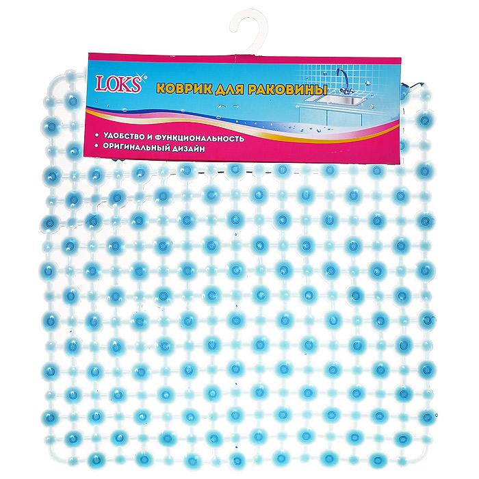 Коврик для раковины Loks, цвет: прозрачный синий, 27 х 27 см K800-101