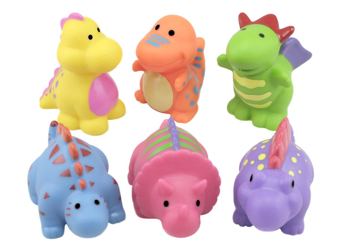 Набор игрушек для ванны Курносики Динозаврики, 6 шт25103Набор игрушек для ванны Курносики Динозаврики, непременно, понравится вашему ребенку и превратит купание в веселую игру! В набор входят шесть ярких игрушек, выполненных из ПВХ, в виде очаровательных динозавриков. Если сжать их во время купания в ванне, они начинают забавно брызгаться водой. Набор игрушек для ванны Курносики Динозаврики способствует развитию у ребенка воображения, цветового восприятия, тактильных ощущений и мелкой моторики рук. Оригинальный стиль и великолепное качество исполнения делают этот набор чудесным подарком к любому празднику, а жизнерадостные образы представят его в самом лучшем свете.