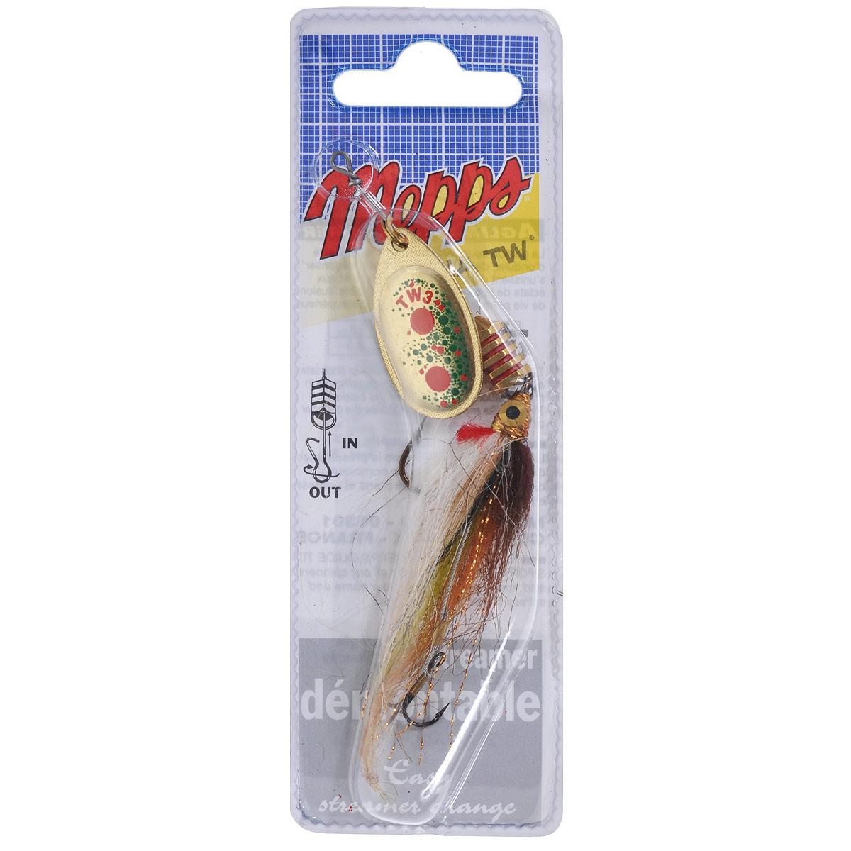 Блесна Mepps Aglia TW Streamer OR, вращающаяся, №34522Вращающаяся блесна Mepps Aglia TW Streamer OR - новый вид блесны, снабженной стримером ручной работы на снасти, состоящей из тройника и одинарного крючка. Лучше всего приманка работает при использовании легких удилищ и катушек в сочетании с тонкой леской рыбаком, обладающим навыком дальнего заброса легких приманок. Блесна хорошо себя показывает при проводке умеренной скорости (на быстром течении приманку достаточно удерживать на одном месте). Вибрация, рождающаяся при вращении лепестка, вызывает сложные движения стримера, безотказно привлекающие рыбу. Эффективность приманивающего эффекта усиливается колебанием тела блесны. Через гибкую ось стример связан с передним одинарным крючком и хвостовым тройником. Он сплетен из волокон более чем десяти различных цветов. Особенно выделяются глаза, жабры ярко-красного цвета, маленькие блестки по всему корпусу и боковая линия.