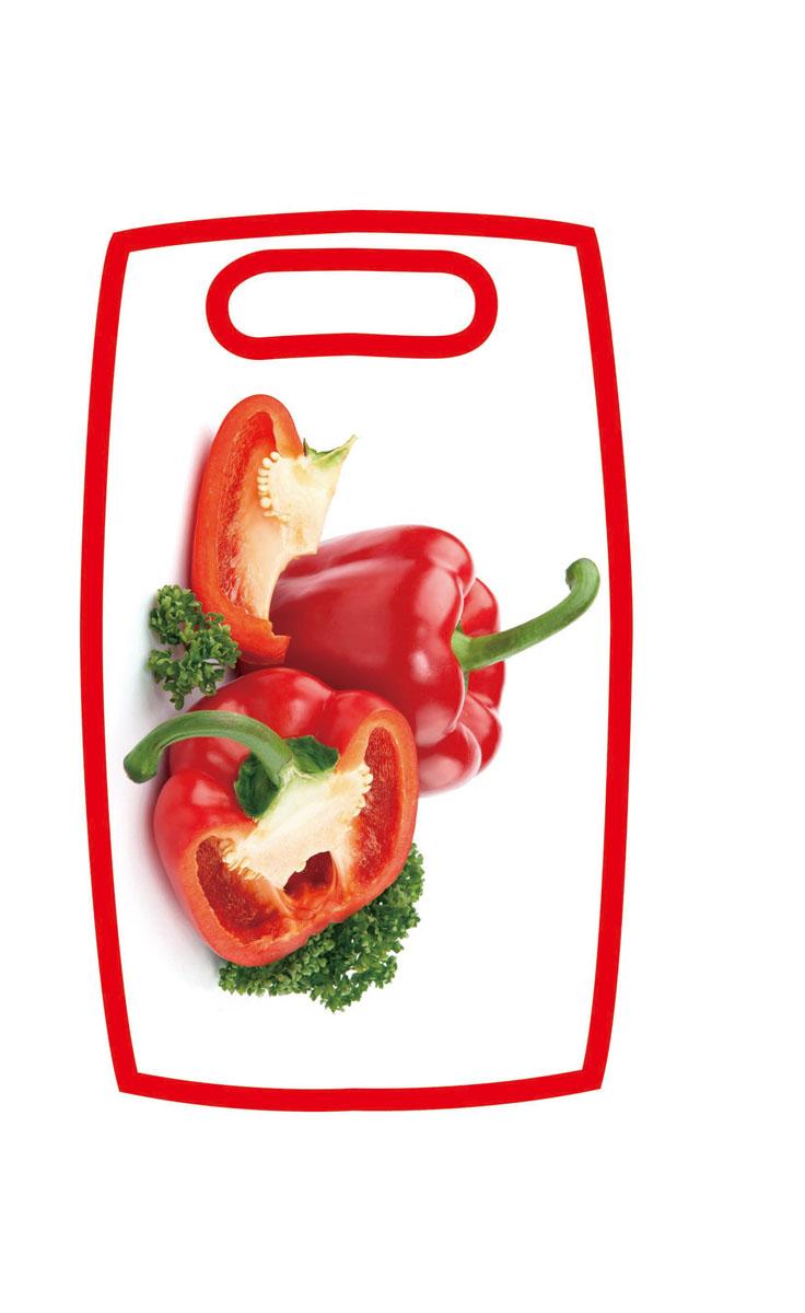 Доска разделочная Hausmann Перец, 31 х 19,5 х 1 смHM-305202-4Разделочная доска Hausmann Перец, изготовленная из высококачественного пищевого пластика, займет достойное место среди аксессуаров на вашей кухне. Лицевая сторона изделия украшена изображением красного перца. Доска оснащена удобной ручкой. Доска Hausmann Перец прекрасно подойдет для нарезки любых продуктов. Она устойчива к деформации, не разрушается, легко моется.