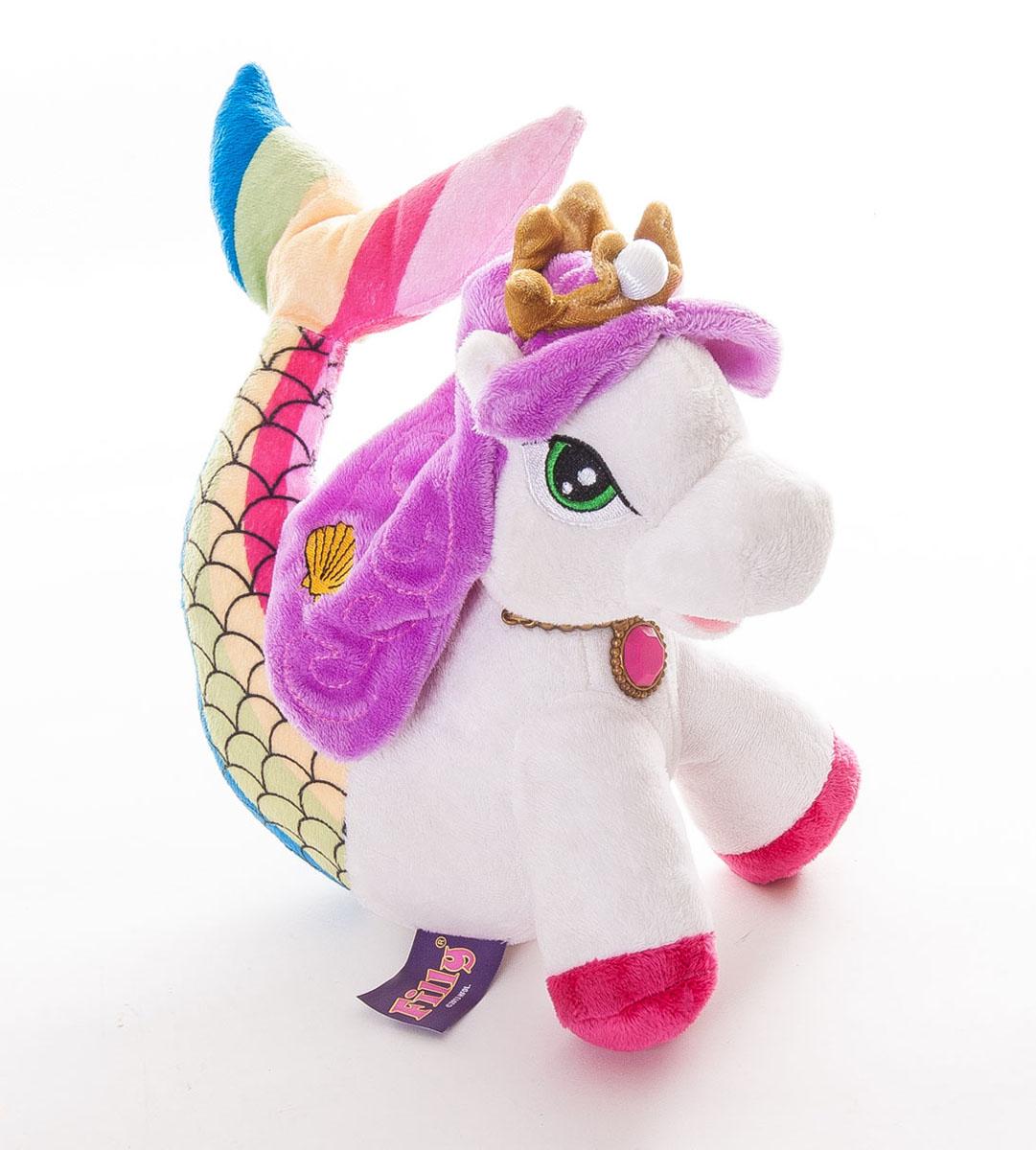 Мягкая игрушка Filly Лошадка русалочка, цвет: белый, сиреневый, 23 см15-11Мягкая игрушка Filly Лошадка русалочка непременно понравится вашей малышке. Она выполнена из приятного на ощупь текстильного материала в виде лошадки-русалки. У сказочной лошадки вместо задних ног имеется длинный хвост русалки, выполненный в ярких цветах. На голове у лошадки мягкая корона с жемчужиной, а на шее розовый медальон. Лапки лошадки наполнены пластиковыми гранулами, которые способствуют развитию мелкой моторики рук малыша. Такая игрушка станет замечательным подарком, как ребенку, так и взрослому, и украсит любой интерьер. Великолепное качество исполнения делают эту игрушку чудесным подарком к любому празднику.