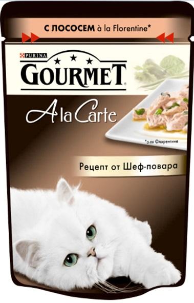 Консервы Gourmet A la Carte, для взрослых кошек, c лососем a la Florentine, шпинатом, цукини и зеленой фасолью, 85 г12242394Корм Gourmet A la Carte – это изысканные блюда, приготовленные по рецептам от шеф-повара. Прекрасное сочетание рыбного или мясного ассорти с тщательно подобранными ингредиентами, такими как овощи, рис или паста, создают утонченную гармонию текстуры и вкуса. Рекомендации по кормлению: Суточная норма: 3-4 пакетика в день для взрослой кошки (средний вес 4 кг), в два приема. Данная суточная норма рассчитана для умеренно активных взрослых кошек, живущих в условиях нормальной температуры окружающей среды. В зависимости от индивидуальных потребностей кошки норма кормления может быть скорректирована для поддержания нормального веса вашей кошки. Подавайте корм комнатной температуры. Следите, чтобы у вашей кошки всегда была чистая, свежая питьевая вода. Состав: мясо и продукты переработки мяса, экстракт растительного белка, рыба и продукты переработки рыбы (в том числе лосось), овощи (в том числе шпинат, цуккини, зеленая фасоль), минеральные вещества,...