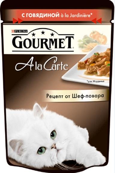 Консервы Gourmet A la Carte, для взрослых кошек, с говядиной a la Jardiniere, с морковью, томатом и цуккини, 85 г83Корм Gourmet A la Carte – это изысканные блюда, приготовленные по рецептам от шеф-повара. Прекрасное сочетание рыбного или мясного ассорти с тщательно подобранными ингредиентами, такими как овощи, рис или паста, создают утонченную гармонию текстуры и вкуса. Рекомендации по кормлению: Суточная норма: 3-4 пакетика в день для взрослой кошки (средний вес 4 кг), в два приема. Данная суточная норма рассчитана для умеренно активных взрослых кошек, живущих в условиях нормальной температуры окружающей среды. В зависимости от индивидуальных потребностей кошки норма кормления может быть скорректирована для поддержания нормального веса вашей кошки. Подавайте корм комнатной температуры. Следите, чтобы у вашей кошки всегда была чистая, свежая питьевая вода. Состав: мясо и продукты переработки мяса (в том числе говядины), экстракт растительного белка, рыба и продукты переработки рыбы, овощи (в том числе морковь, томат, цуккини) минеральные вещества, сахара,...