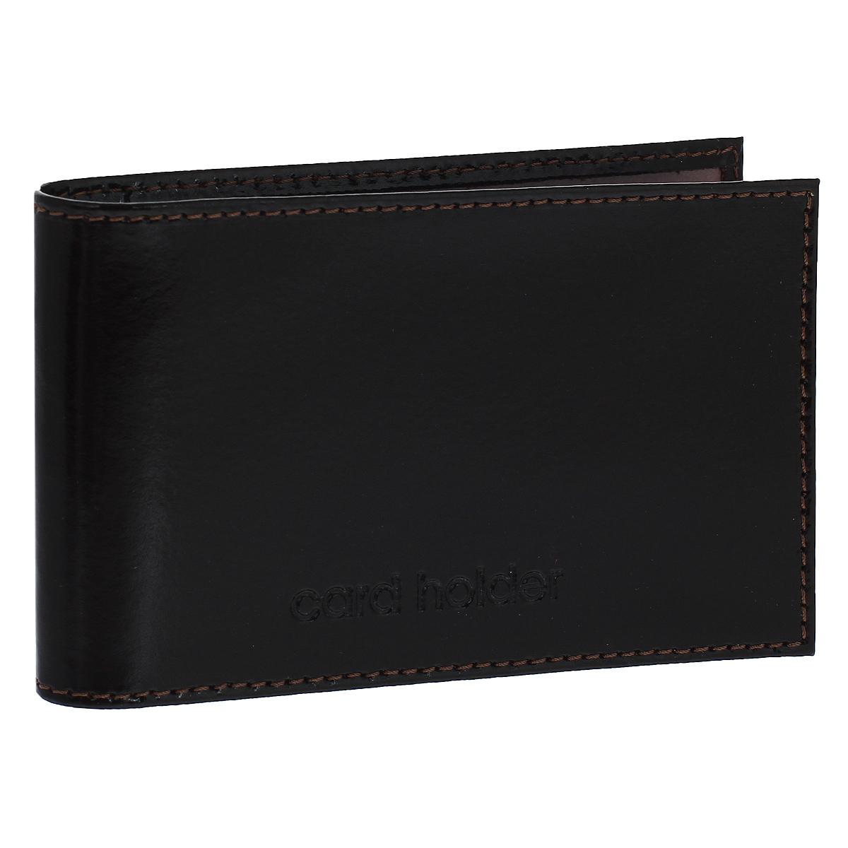Кредитница горизонтальная Befler Classic, цвет: темно-коричневый. K.5.-1K.5.-1.brownКомпактная горизонтальная кредитница Befler Classic  - стильная вещь для хранения визиток. Обложка кредитницы выполнена из натуральной кожи и оформлена декоративным тиснением Card Holder. На внутреннем развороте 2 кармана из прозрачного пластика. Внутренний блок состоит из 20 прозрачных кармашков, рассчитанных на 40 визитных или 20 кредитных карт.