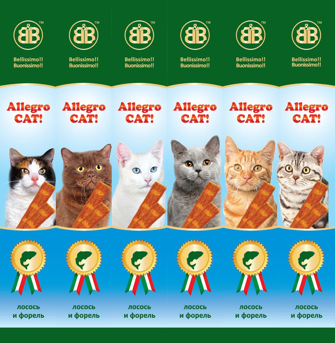 Лакомство для кошек B&B Allegro Cat, мясные колбаски из лосося и форели, 6х5 г36451Колбаски мясные B&B Allegro Cat - это вкусное и здоровое угощение, которое придется по вкусу даже самому капризному любимцу. Специальная герметичная упаковка сохранит лакомство вкусным в течение долгого времени. Состав: мясо и продукты животного происхождения ( минимум 95%: из которых 5% форель, 5% лосось), минеральные соли. Пищевая ценность: протеин 33,5%, жиры 20%, зола 9%, клетчатка -2%, влажность -28%. Количество колбасок в упаковке: 6 шт. Вес одной колбаски: 5 г. Товар сертифицирован.