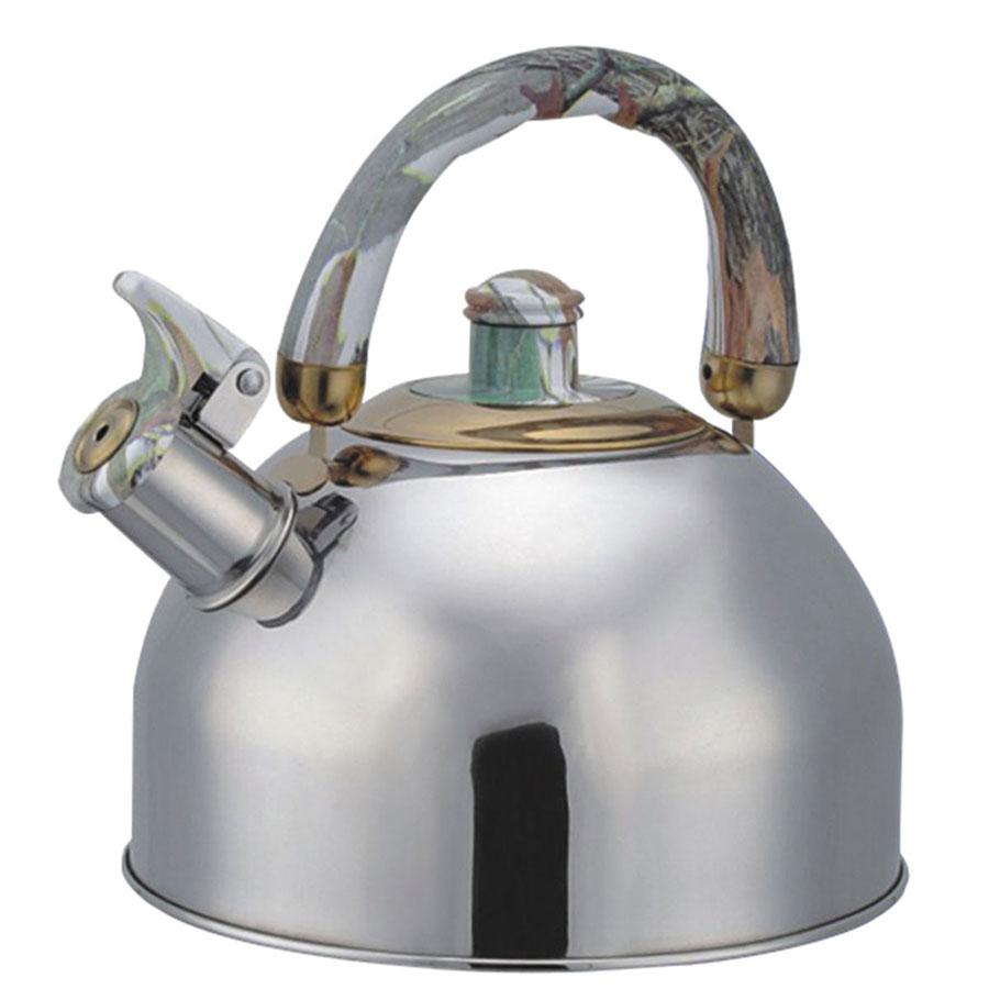 Чайник Bohmann со свистком, цвет: мраморный, 4,5 л. BHL-644644BHLЧайник Bohmann изготовлен из высококачественной коррозионностойкой стали с зеркальной полировкой. Материал, зарекомендовавший себя как идеально подходящий для изготовления кухонной посуды и аксессуаров. Прочность, надежность, стойкость к кислотам и привлекательный внешний вид основные свойства этого материала. Серия посуды Lite в линейке посуды Bohmann - это посуда из стали, легкая и экономичная. Подвижная ручка изготовлена из пластика под мрамор. Носик чайника оснащен откидным свистком, звуковой сигнал которого подскажет, когда закипит вода. Чайник Bohmann - качественное исполнение и стильное решение для вашей кухни. Подходит для использования на газовых, стеклокерамических и электрических плитах. Также изделие можно мыть в посудомоечной машине. Объем: 4,5 л. Диаметр (по верхнему краю): 8,5 см. Высота чайника (без учета ручки): 12,5 см. Высота чайника (с учетом ручки): 22 см. Диаметр основания: 22 см.