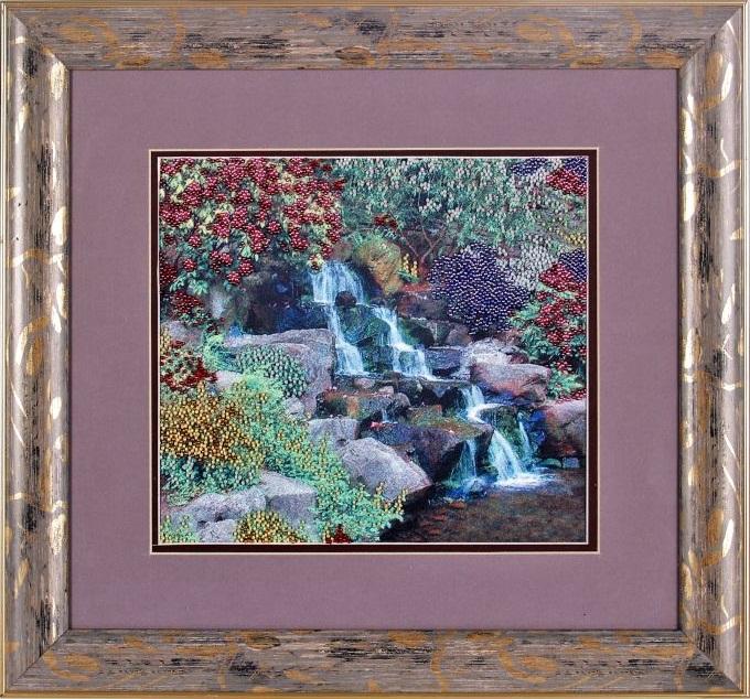 Набор для вышивания бисером Alisena Водопад, 25 см х 23 см. ВН1028383101