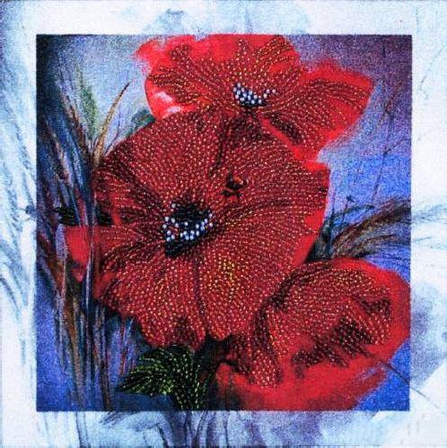 Набор для вышивания бисером Alisena Красные цветы, 20 х 20 см ВН1037383115