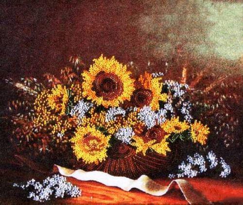 Набор для вышивания бисером Alisena Подсолнухи, 30 см х 25 см. ВН1042383116