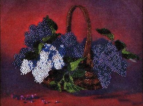 Набор для вышивания бисером Alisena Корзина цветов, 24 см х 18 см. ВН1017383183