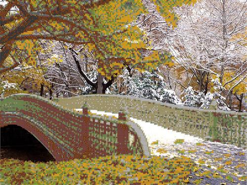 Набор для вышивания бисером Gluriya Зимний мост, 40 х 30 см385072