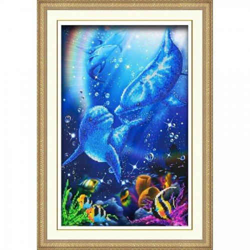 Набор для вышивания бисером Дельфины, 38,5 х 25 см 695420695420