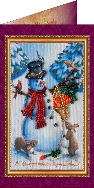 Набор для вышивания бисером Открытка. С Рождеством Христовым-2, 8 х 14 см 699004699004