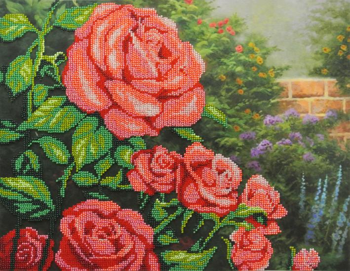 Набор для вышивания бисером Красные розы, 28 см х 35 см. БГ-231699393