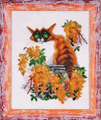 Набор для вышивания бисером Alisena Рыжий кот, 23 х 28 см ВН1103699991