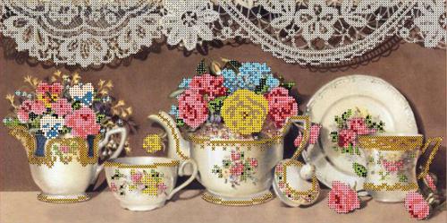 Набор для вышивания бисером Gluriya Чайный сервиз 2, 20 см х 40 см7704649