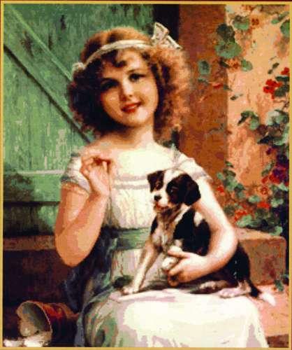 Набор для вышивания гобеленовым швом Гобелен Классик Девочка с собачкой, 26,4 х 32 см279060