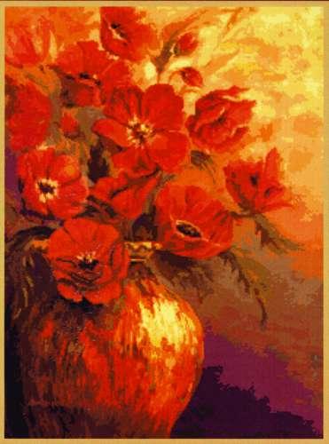 Набор для вышивания гобеленовым швом Гобелен Классик Красные цветы, 24 х 33 см279064