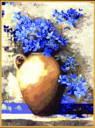 Набор для вышивания гобеленовым швом Гобелен Классик Синие цветы, 24 см х 33 см279067