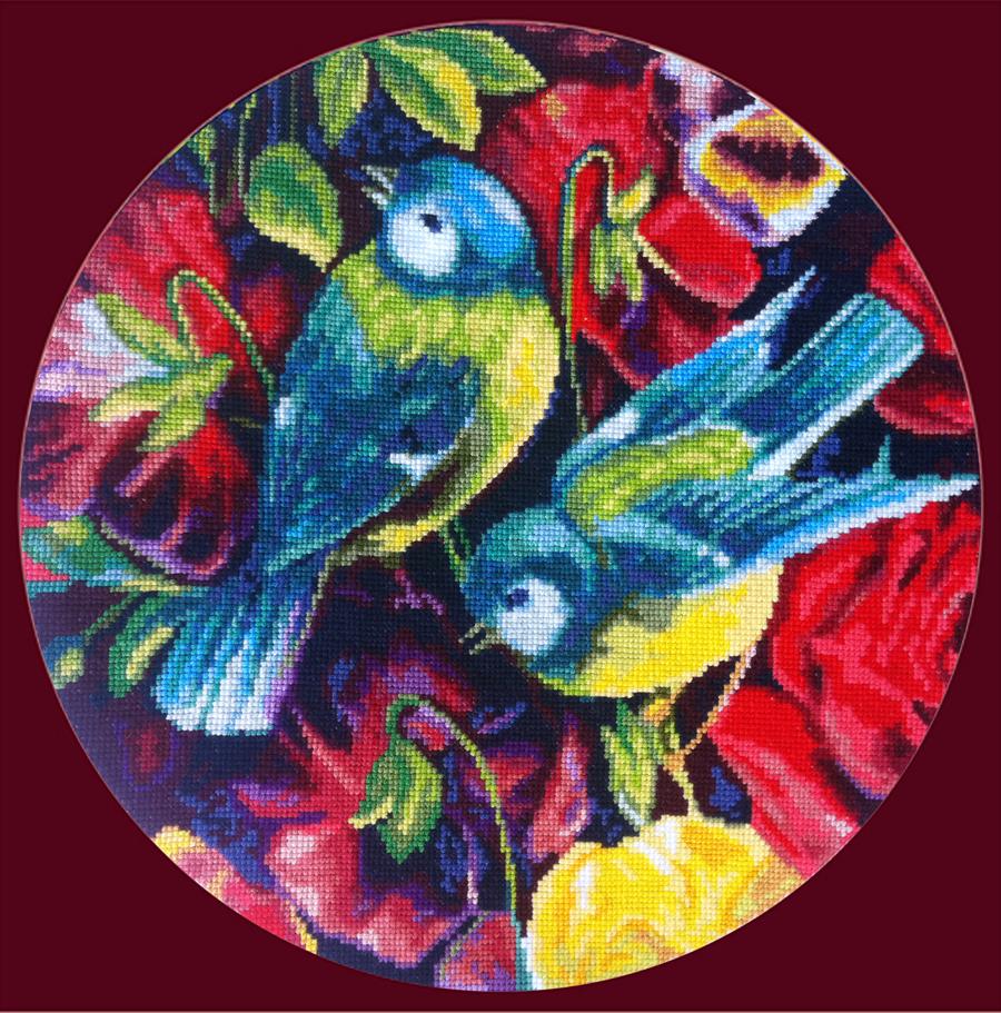 Набор для вышивания гобеленовым швом Гобелен Классик Синицы и цветы, 20 х 20 см386034
