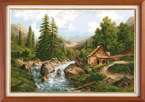 Набор для вышивания крестом Горный пейзаж, 47 х 31 см 77049527704952