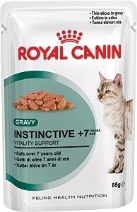 Консервы Royal Canin Instinctive +7, для кошек старше 7 лет, мелкие кусочки в соусе, 85 г0168Консервы Royal Canin Instinctive +7 - полнорационное питание в виде мелких кусочкоы в соусе для кошек старше 7 лет. У кошек старше 7 лет: - Появляется избыточный вес, обусловленный снижением активности. - Ухудшается работа почек. - Замедляется процесс обновления клеток организма. Продление молодости. Способствует нейтрализации свободных радикалов благодаря запатентованному комплексу антиоксидантов. Здоровье почек. Способствует поддержанию здоровья почек благодаря умеренному содержанию фосфора. Пищевое предпочтение. Инстинктивно предпочитаемый нутриентный профиль. Состав: мясо и мясные субпродукты, злаки, экстракты белков растительного происхождения, субпродукты растительного происхождения, минеральные вещества, масла и жиры, моллюски и ракообразные, углеводы. Добавки (в 1 кг): Витамин D3: 265 ME, Железо: 1,8 мг, Йод: 0,02 мг, Марганец: 0,6 мг, Цинк: 6 мг. Товар сертифицирован.