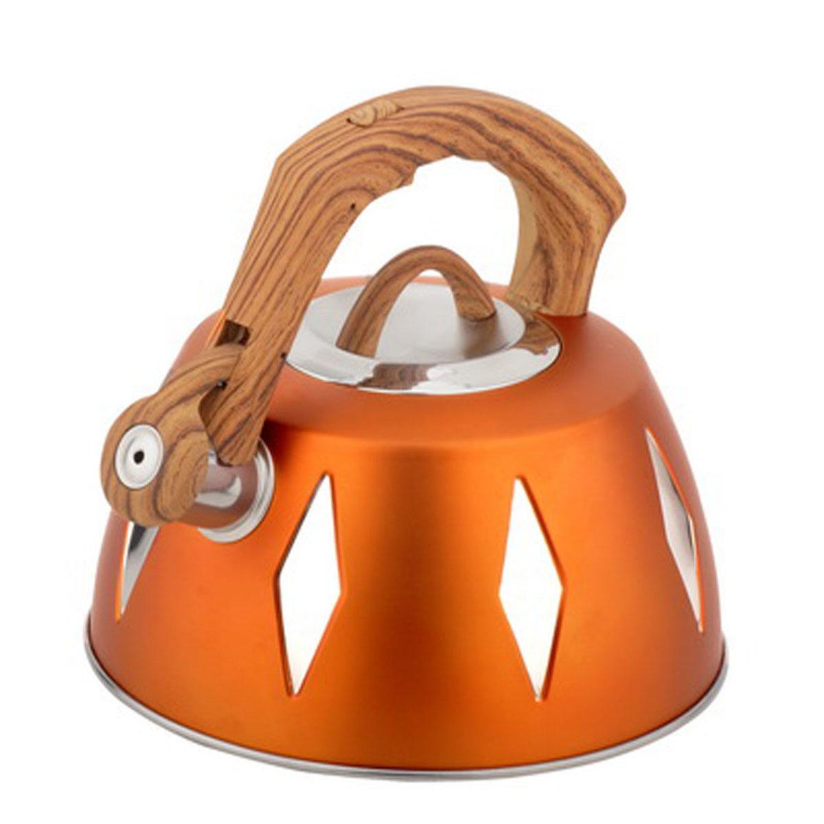 Чайник Bohmann со свистком, 3,5 л, цвет: оранжевый. BH-99689968BHNEWЧайник Bohmann изготовлен из высококачественной нержавеющей стали с цветным матовым покрытием. Нержавеющая сталь - материал, из которого в течение нескольких десятилетий во всем мире производятся столовые приборы, кухонные инструменты и различные аксессуары. Этот материал обладает высокой стойкостью к коррозии и кислотам. Прочность, долговечность и надежность этого материала, а также первоклассная обработка обеспечивают практически неограниченный запас прочности и неизменно привлекательный внешний вид. Капсульное дно позволяет изделию быстро нагреваться и дольше сохранять тепло. Чайник оснащен фиксированной прорезиненной цветной ручкой, что предотвращает появление ожогов и обеспечивает безопасность использования. Носик чайника имеет откидной свисток, который подскажет, когда вода закипела. Можно использовать на газовых, электрических, галогенных, стеклокерамических, индукционных плитах. Можно мыть в посудомоечной машине. Высота чайника (без учета ручки и крышки):...