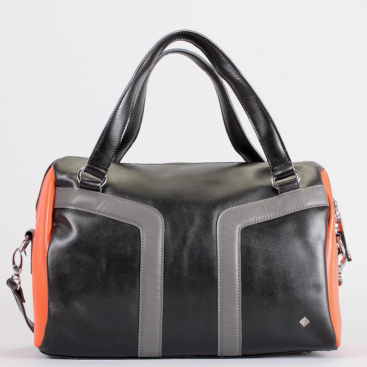 Сумка женская Flioraj, цвет: черный, оранжевый. 10713-1/24/610713-1/24/6 черн/оранжСтильная сумка Flioraj выполнена из натуральной гладкой кожи с отделкой из кожи контрастного цвета. Сумка имеет одно вместительное отделение, закрывающееся на застежку-молнию. Внутри - два накладных кармашка для мелочей и два кармана на молнии. С внешней стороны на задней стенке раположен вшитый карман на молнии. Сумка оснащена двумя ручками, а также плечевым ремнем регулируемой длины. Сумка - это стильный аксессуар, который подчеркнет вашу изысканность и индивидуальность и сделает ваш образ завершенным. Характеристики: Размер сумки: 33 см х 22 см х 17 см.
