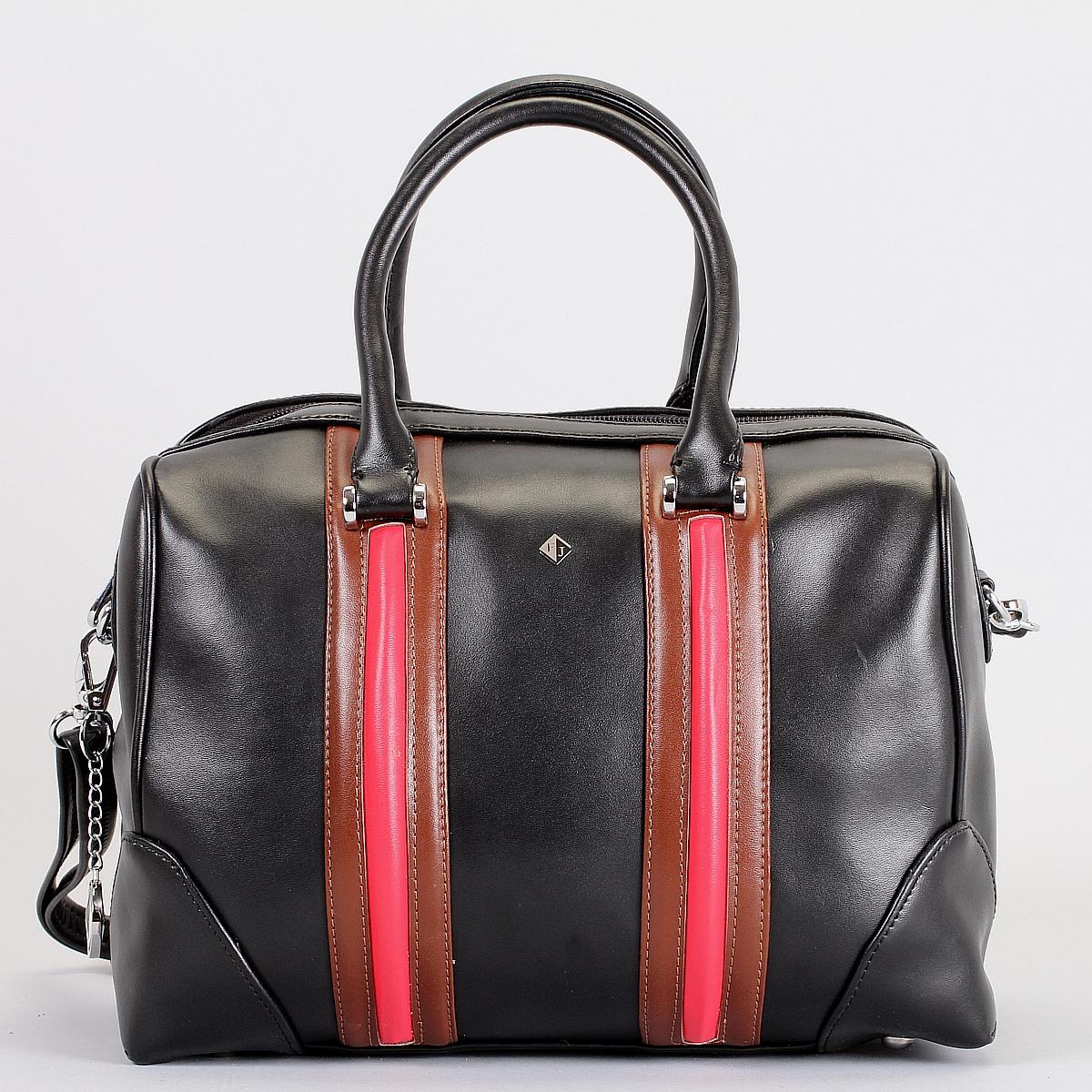 Сумка женская Flioraj, цвет: черный, красный, фуксия. 580434-1B-1/2/7580434-1B-1/2/7 черн/кор/Стильная женская сумка Flioraj выполнена из высококачественной натуральной кожи с отделкой в виде кожаных вставок контрастного цвета. Сумка имеет одно отделение, закрывающееся на застежку-молнию. Внутри - два кармана на застежка-молниях и два накладных кармашка для мелочей. Сумка оснащена двумя удобными ручками, съемным плечевым регулируемым ремнем на карабинах и жестким основанием с четырьмя ножками. Сумка украшена металлическим брелоком в виде логотипа фирмы. Элегантность этой сумочки определяется игрой линий и форм, которые сочетаются с модным декором. Ее обладательница привыкла брать от жизни все и наслаждаться каждым ее моментом. Такая сумка станет идеальным дополнением к вашему образу!