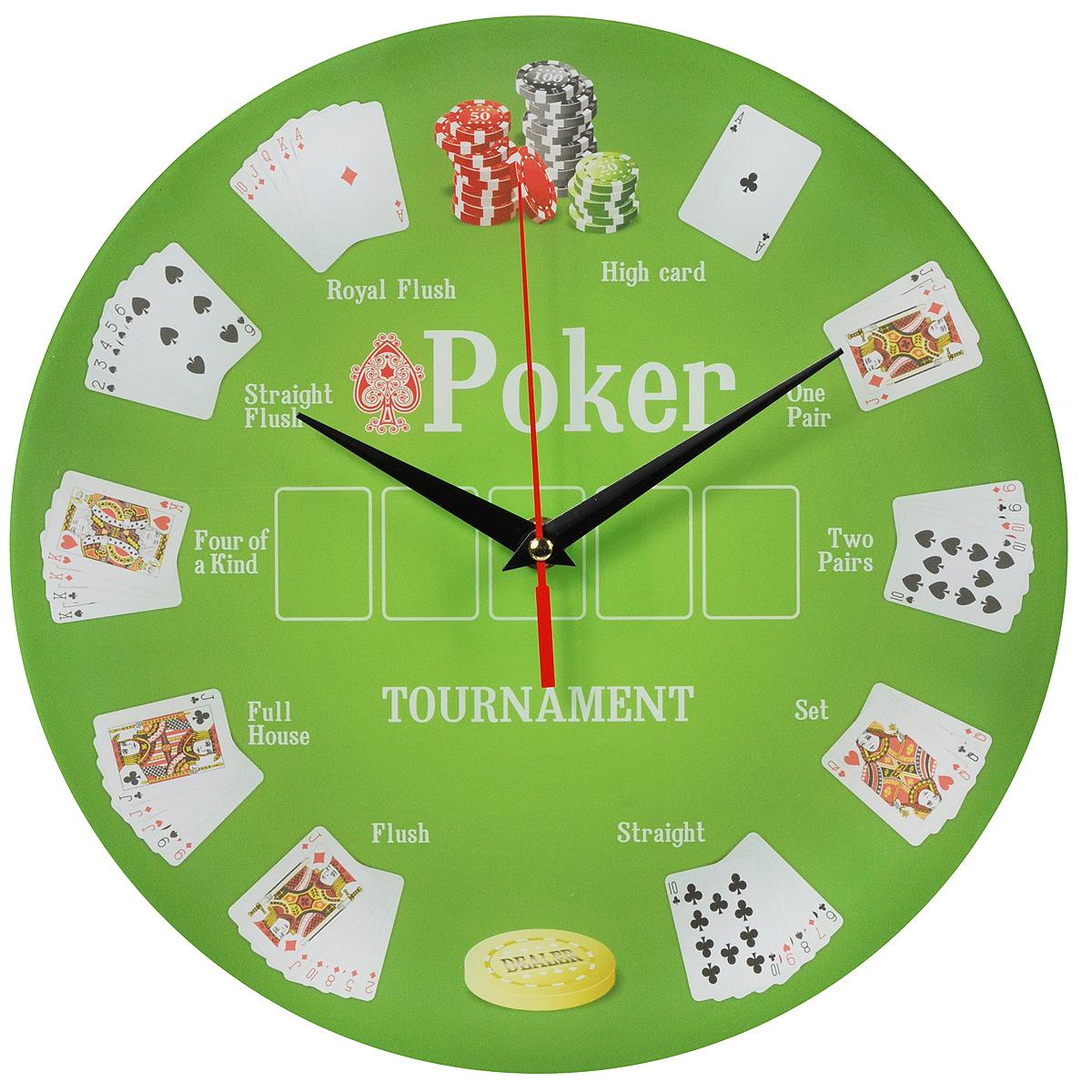 Часы настенные Покер, стеклянные. 9601496014Оригинальные настенные часы Покер круглой формы выполнены из стекла и оформлены изображением покерного стола. Часы имеют три стрелки - часовую, минутную и секундную. Циферблат часов не защищен. Необычное дизайнерское решение и качество исполнения придутся по вкусу каждому. Оформите свой дом таким интерьерным аксессуаром или преподнесите его в качестве презента друзьям, и они оценят ваш оригинальный вкус и неординарность подарка.