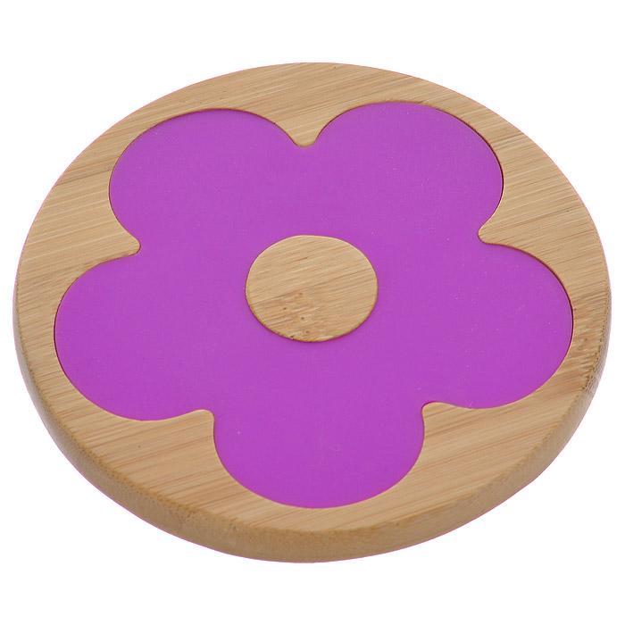 Подставка под горячее Frybest Цветок бамбуковая, цвет: фиолетовый, диаметр 9,5 смCO08911B2N1
