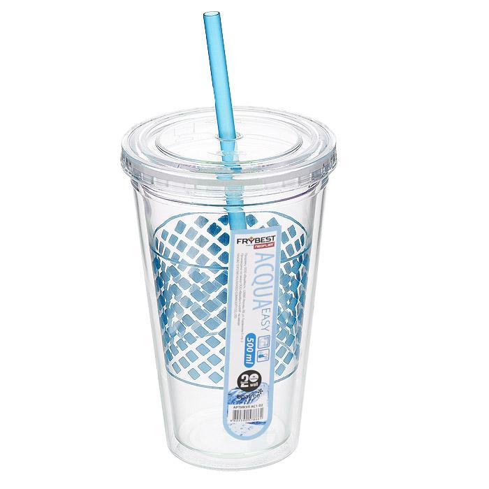 Стакан Frybest Easy, с трубочкой, цвет: голубой, 500 мл. AC1-04AC1-04Стакан Frybest Easy изготовлен из прочного пластика, оформленного цветным рисунком. Благодаря специальной конструкции с двойными стенками горячие и холодные напитки дольше сохраняют свою температуру. Прозрачность материала позволяет видеть содержимое. Материал износостоек и устойчив к царапинам, благодаря этому изделие сохранит свой изначальный вид даже после продолжительного использования. Стакан оснащен плотно закрывающейся крышкой с силиконовой прослойкой и удобной трубочкой. Такой стакан очень удобен в использовании, его можно взять с собой куда угодно: на работу, пикник, в парк, поездку или прогулку. Легкость очистки: благодаря своей форме стакан легко мыть; пригоден для посудомоечной машины.