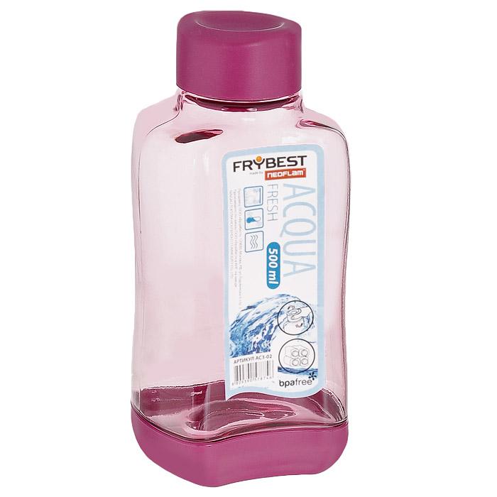 Бутылка Frybest Fresh, цвет: розовый, 500 мл. AC3-02AC3-02Бутылка Frybest Fresh изготовлена из прочного цветного пластика. Прозрачные стенки позволяют видеть содержимое. Материал износостоек и устойчив к царапинам, благодаря этому изделие сохранит свой изначальный вид даже после продолжительного использования. Бутылка оснащена специальной крышкой, которая легко открывается и закрывается, но, благодаря резиновой прослойке, предотвращает случайное проливание. Дно бутылки пластиковое. Для удобства хранения бутылки имеют специальные выемки, которые позволяют ставить их одна на другую. Такая бутылка очень удобна в использовании, ее можно взять с собой куда угодно: на работу, пикник, в парк, поездку или прогулку. Легкость очистки: благодаря своей форме стакан легко мыть; пригоден для посудомоечной машины. Можно использовать в морозильной камере, чтобы остудить напитки.