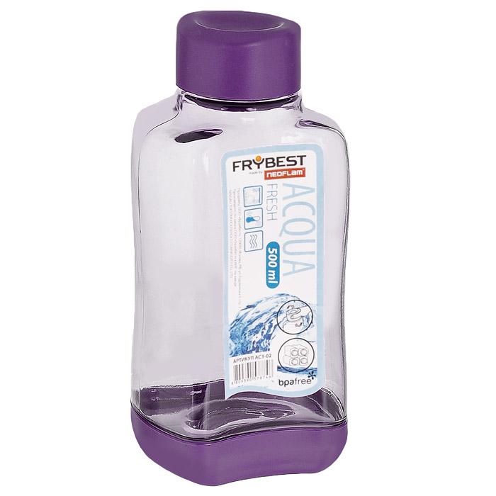 Бутылка Frybest Fresh, цвет: фиолетовый, 500 мл. AC3-01AC3-01Бутылка Frybest Fresh изготовлена из прочного цветного пластика. Прозрачные стенки позволяют видеть содержимое. Материал износостоек и устойчив к царапинам, благодаря этому изделие сохранит свой изначальный вид даже после продолжительного использования. Бутылка оснащена специальной крышкой, которая легко открывается и закрывается, но, благодаря резиновой прослойке, предотвращает случайное проливание. Дно бутылки пластиковое. Для удобства хранения бутылки имеют специальные выемки, которые позволяют ставить их одна на другую. Такая бутылка очень удобна в использовании, ее можно взять с собой куда угодно: на работу, пикник, в парк, поездку или прогулку. Легкость очистки: благодаря своей форме стакан легко мыть; пригоден для посудомоечной машины. Можно использовать в морозильной камере, чтобы остудить напитки.