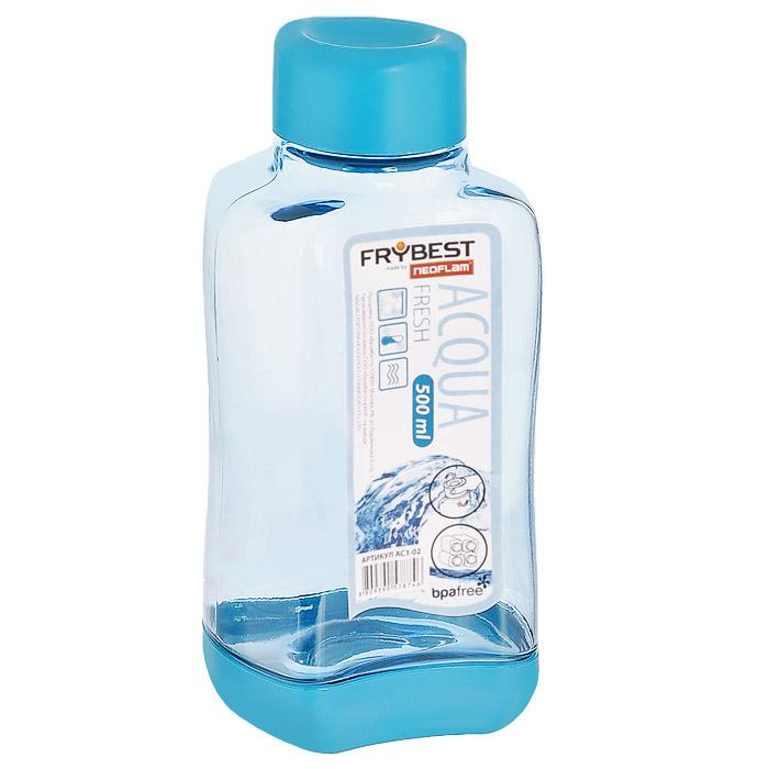 Бутылка Frybest Fresh, цвет: голубой, 500 мл. AC3-04AC3-04Бутылка Frybest Fresh изготовлена из прочного цветного пластика. Прозрачные стенки позволяют видеть содержимое. Материал износостоек и устойчив к царапинам, благодаря этому изделие сохранит свой изначальный вид даже после продолжительного использования. Бутылка оснащена специальной крышкой, которая легко открывается и закрывается, но, благодаря резиновой прослойке, предотвращает случайное проливание. Дно бутылки пластиковое. Для удобства хранения бутылки имеют специальные выемки, которые позволяют ставить их одна на другую. Такая бутылка очень удобна в использовании, ее можно взять с собой куда угодно: на работу, пикник, в парк, поездку или прогулку. Легкость очистки: благодаря своей форме стакан легко мыть; пригоден для посудомоечной машины. Можно использовать в морозильной камере, чтобы остудить напитки.