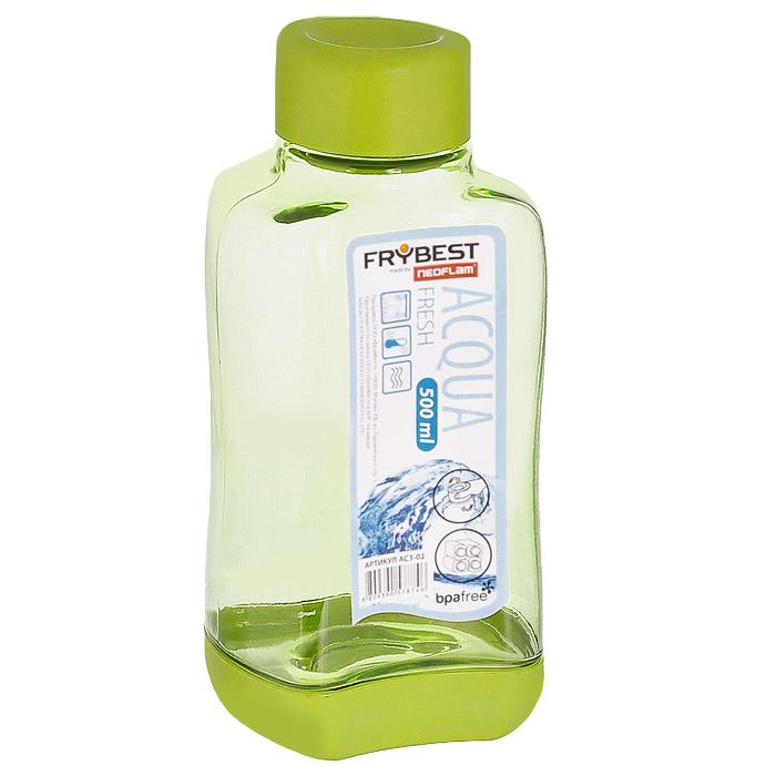Бутылка Frybest Fresh, цвет: зеленый, 500 мл. AC3-03AC3-03Бутылка Frybest Fresh изготовлена из прочного цветного пластика. Прозрачные стенки позволяют видеть содержимое. Материал износостоек и устойчив к царапинам, благодаря этому изделие сохранит свой изначальный вид даже после продолжительного использования. Бутылка оснащена специальной крышкой, которая легко открывается и закрывается, но, благодаря резиновой прослойке, предотвращает случайное проливание. Дно бутылки пластиковое. Для удобства хранения бутылки имеют специальные выемки, которые позволяют ставить их одна на другую. Такая бутылка очень удобна в использовании, ее можно взять с собой куда угодно: на работу, пикник, в парк, поездку или прогулку. Легкость очистки: благодаря своей форме стакан легко мыть; пригоден для посудомоечной машины. Можно использовать в морозильной камере, чтобы остудить напитки.
