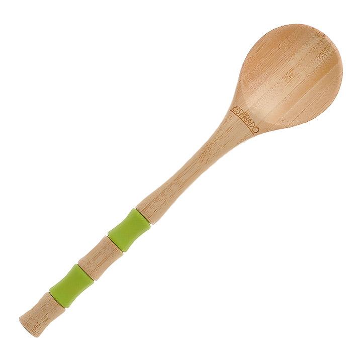 Ложка Esprado Decoco. DC1BS00E503DC1BS00E503Ложка Esprado Decoco изготовлена из экологически чистого материала - натуральной древесины бамбука. Поверхность изделия покрыта двойным слоем специальной пропитки Deleo, предназначенной для использования на посуде и предметах, соприкасающихся с пищей, и безопасной для здоровья. Она придает изделию гладкость и усиливает водоотталкивающие и антибактериальные свойства древесины. Рукоятка изделия имеет две силиконовые вставки зеленого цвета. Такая ложка не впитывает воду и запахи, не рассыхается, устойчива к нагрузкам. Отлично подходит для использования на антипригарных покрытиях.